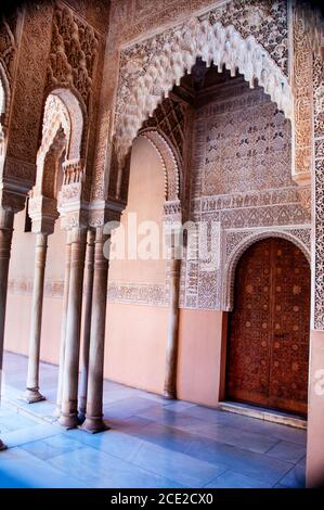 A honeycomb patten in Islamic architecture is called Muqarnas, an element of Moorish design of a vaulting structure that looks like stalactite.
