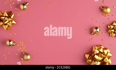 Christmas holiday composition. Golden balls decorations, tinsel, confetti stars on pastel pink background. Flat lay, top view. - Stock Photo