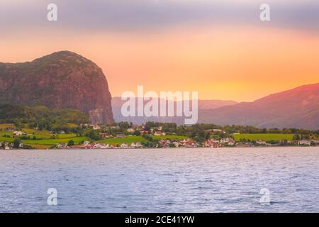 Norway traditional village sunset - Stock Photo