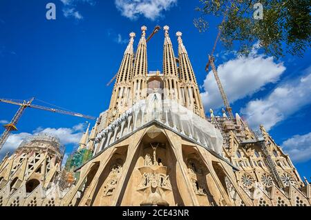 Sagrada Familia church cathedral in Barcelona, Spain