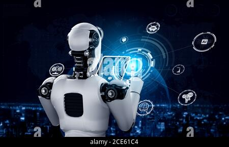 Robot humanoid using tablet computer for global network connection