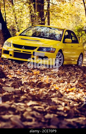 Mitsubishi Lancer Evolution 9, shot in a mountain road full of autumn leaves - Stock Photo