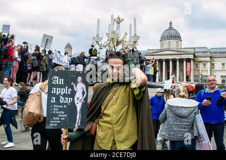 WESTMINSTER, LONDON/ENGLAND- 29 August 2020: Protesters at an anti-lockdown Unite for Freedom Rally, against coronavirus restrictions