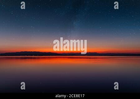 Starry sky at twilight over the calm sea with the horizon in the middle and the mountains in the background - Stock Photo