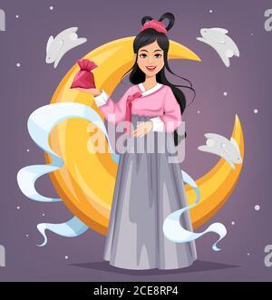 Chuseok Hangawi greeting card, Korean Thanksgiving day, mid-autumn festival. Beautiful Korean woman. Vector illustration