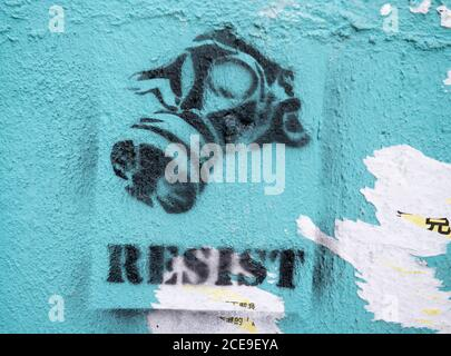 Hong Kong,China:29 Feb,2020.  Hong Kong protest artworks in Central Hong Kong.The work is on the outer wall of Lo Yau Kee (老友記) Restaurant. Alamy Stoc Stock Photo