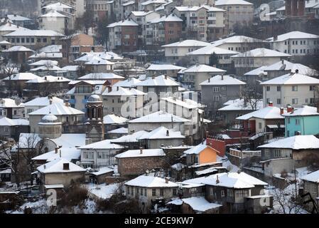 City of Veliko Tarnovo in the Winter Stock Photo