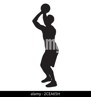 Professional basketball player silhouette shooting ball into the hoop, vector illustration - Stock Photo