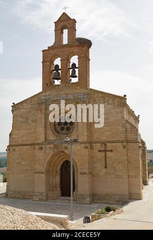The church of Santa María del Castillo is a Catholic church located in the town of Castronuño, Province of Valladolid, Castile and Leon, Spain. - Stock Photo