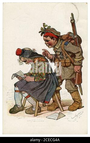 German historical postcard: Children as adults: the soldier returned to his peasant girlfriend from the war with an iron cross. Pleasant surprise. - Stock Photo