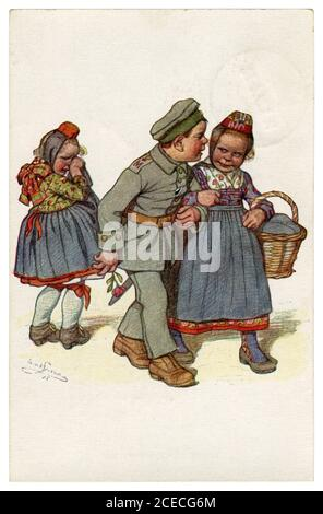 German historical postcard: Children as adults: broken heart. The hero soldier returned from the war to the other girl, by Beithan, Emil Germany, 1915 - Stock Photo