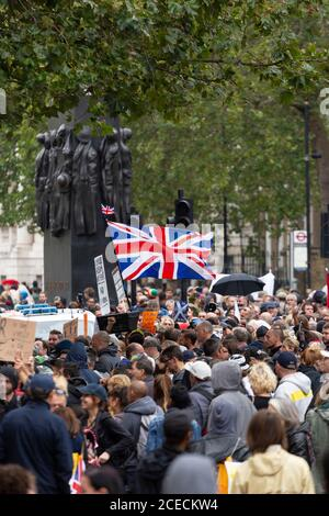 Crowd of protesters at an Anti-Lockdown demonstration, Whitehall, London, 29 August 2020
