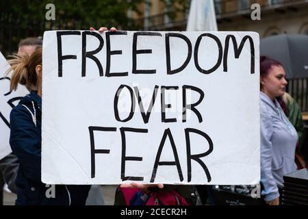 Placard at Anti-Lockdown demonstration, Whitehall, London, 29 August 2020