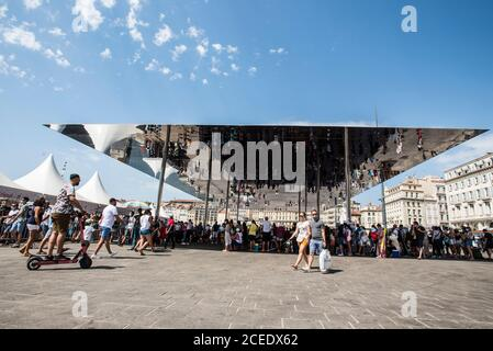 The Ombriere in Marseilles Old Port - Stock Photo