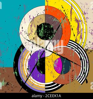abstract circle background, retro/vintage style with paint strokes and splashes - Stock Photo