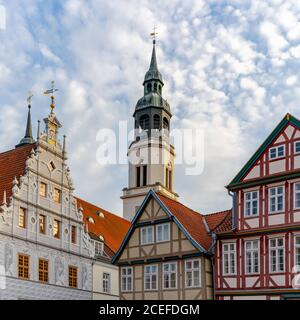 Celle, Niedersachsen / Germany - 3 August 2020: view of the old city hall and St. Marien Church building in Celle in Lower Saxony