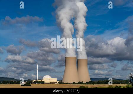 Grohnde, Lower Saxony / Germany - 3 August 2020: view of the Grohnde nuclear power plant in Emmerthal in Lower Saxony - Stock Photo