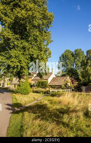 Evening light on stone cottages beside the River Eye in the Cotswold village of Lower Slaughter, Gloucestershire UK