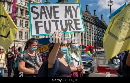 Extinction Rebellion protesters March to the Houses of Parliament, one carrying a sign that reads, 'Save my future', during the 2020 demonstrations. - Stock Photo