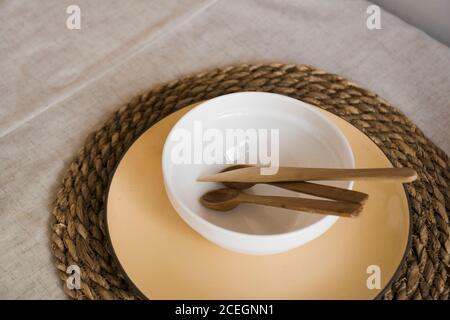 Natural crockery tableware. Dishes neutral tones, scandinavian style kitchen