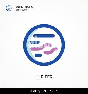 Jupiter super basic orbit color vector icon. Illustration symbol design template for web mobile UI element. Perfect color modern pictogram on editable - Stock Photo