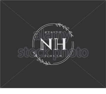 Initial NH beauty monogram and elegant logo design - Stock Photo