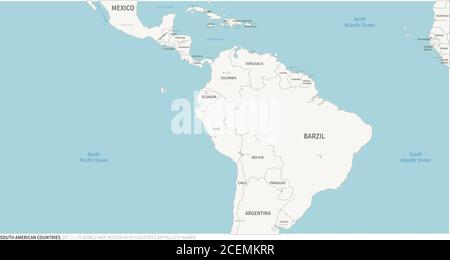 South American Countries, Latin American map. Editable Continental Map of Country. - Stock Photo