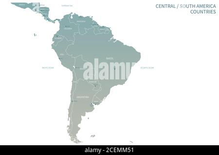South American Countries Map. Detail Map Vector with National Capital Plots - Stock Photo