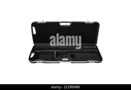 Modern hard plastic case with a combination lock for storing and transporting weapons. Luxury rifle case. - Stock Photo