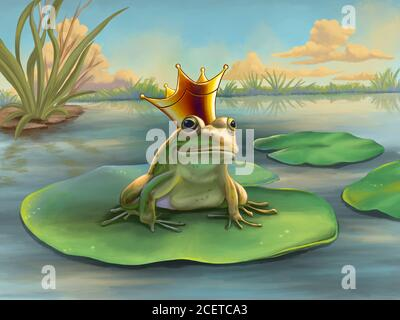 Frog prince waiting on a water lily. Digital illustration. - Stock Photo
