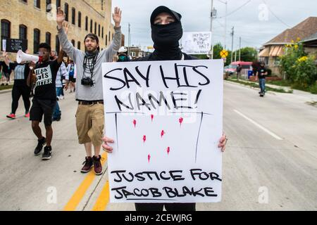Kenosha, WI, USA. 1st Sep, 2020. Protestors demonstrate on September 1, 2020 in Kenosha, Wisconsin after the shooting of Jacob Blake. Credit: Chris Tuite/Image Space/Media Punch/Alamy Live News - Stock Photo