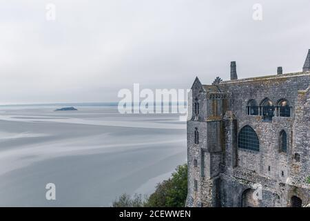 Inside view of the monastery in Mont Saint Michel, Normandy, France.
