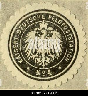. Die postwertzeichen und entwertungen der deutschen postanstalten in den schutzgebieten und im auslande. Stock Photo