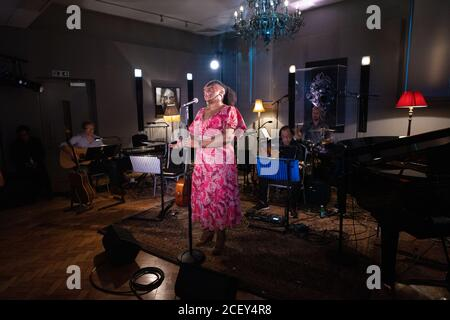 Sandra Marvin performing at L-Acoustics Creation in London as part of West End Unplugged, an initiative to raise money for various charities supportin - Stock Photo