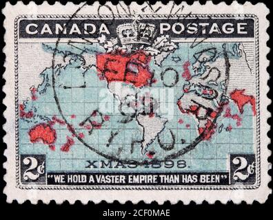 Canadian Christmas stamp from 1898 to honour the British Empire - Stock Photo