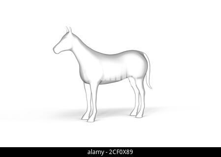 Horse - Black and White Graphics on White Background - 3D Illustration - Stock Photo
