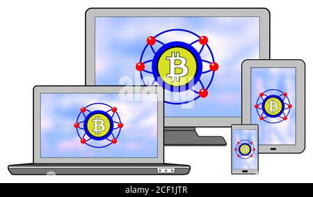 Bitcoin concept shown on different information technology devices - Stock Photo