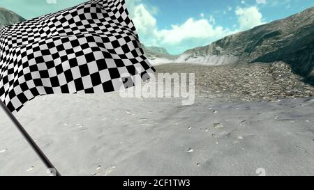 . Large Checkered Flag with fabric surface texture with landscape background. - Stock Photo