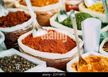 Close View Of Masala Curry, Bright Colors Fragrant Seasoning, Condiment In Bags On Local Food Market, Bazaar.