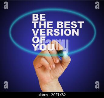 writing word ' be the best version of you ' with marker on gradient background made in 2d software. - Stock Photo