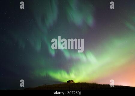 The Northern Light Aurora borealis at Keflavik Reykjavik area Iceland. - Stock Photo