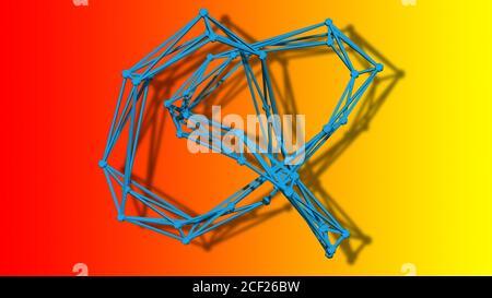 wire frame model of torus knot - 3D Rendering.