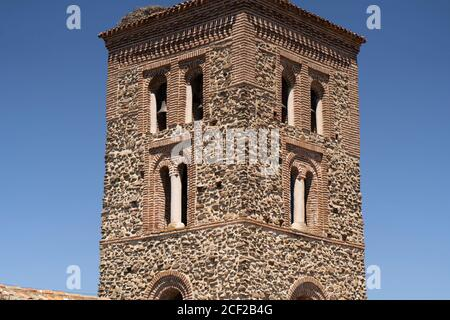 Mudejar style tower,Santa Maria del Castillo church,s. XIV,. BUITRAGO DEL LOZOYA, MADRID province,Sierra Norte,SPAIN,EUROPE. - Stock Photo