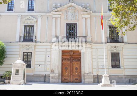 Valladolid, Spain - July 18th, 2020: Royal Palace of Valladolid facade. Currently is the headquarters of the 4th General Sub-inspection of the Army. Stock Photo