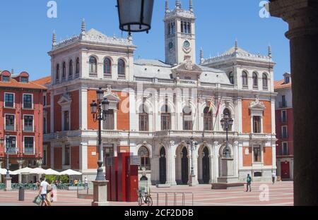 Valladolid, Spain - July 18th, 2020: Main Square or Plaza Mayor of Valladolid, Spain. Emblematic location of the city. Stock Photo