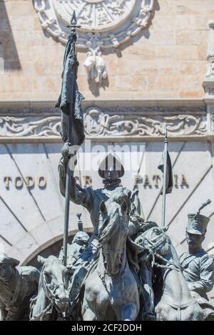 Valladolid, Spain - July 18th, 2020: Memorial to Cazadores de Alcantara at Facade of Cavalry Academy of Valladolid, Spain. Sculpted by Mariano Stock Photo