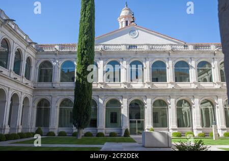 Valladolid, Spain - July 18th, 2020: Royal College of the Augustinian Fathers of Philippines Courtyard. Valladolid, Spain. Stock Photo