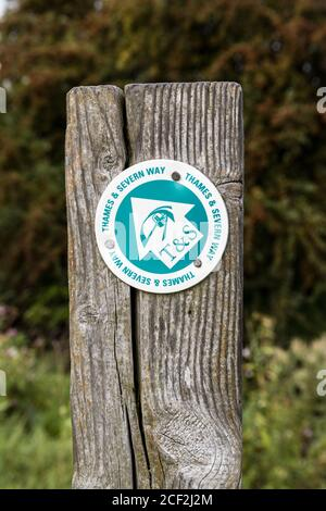 A waymark for the Thames and Severn Way long distance footpath beside the disused Stroudwater Navigation near Saul, Gloucestershire UK - Stock Photo