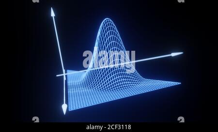 Mathematical formula equation axis visualization, modern abstract grid, wireframe structure, background, digital technology science concept 3D render - Stock Photo