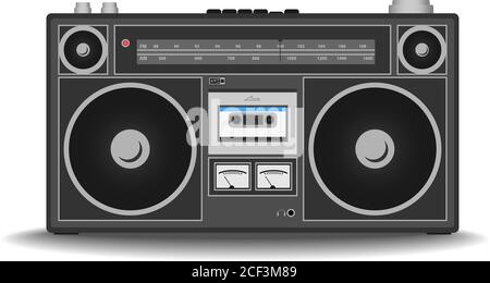 classic 80s boombox cassette tape recorder isolated on white vector illustration - Stock Photo